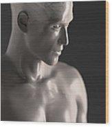 Male Figure With Brain Wood Print