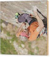 Man Climbing Re Azul, An Historic 7b Wood Print