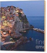 Manarola At Night In The Cinque Terre Italy Wood Print