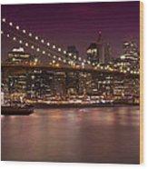 Manhattan By Night Wood Print