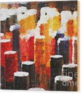 Many Wine Bottles Painting Wood Print by Magomed Magomedagaev