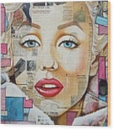 Marilyn In Pink And Blue Wood Print