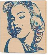 Marilyn Monroe Stylised Pop Art Drawing Sketch Poster Wood Print