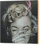 Marilyn's Crimson Haze Wood Print