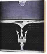 Maserati Hood - Grille Emblems Wood Print