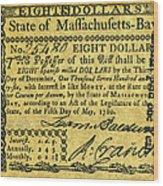 Massachusetts Banknote Wood Print