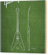 Mccarty Gibson Electric Guitar Patent Drawing From 1958 - Green Wood Print