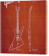 Mccarty Gibson Electrical Guitar Patent Drawing From 1958 - Red Wood Print