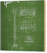 Mccarty Gibson Les Paul Guitar Patent Drawing From 1955 - Green Wood Print by Aged Pixel