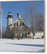 Mcgulpin Point Lighthouse In Winter Wood Print