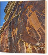 Mckee Springs Petroglyph - Utah Wood Print