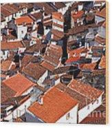 Medieval Town Rooftops Wood Print
