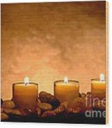 Meditation Candles Wood Print