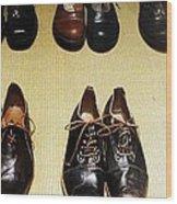 Mens Fine Italian Leather Shoes Wood Print