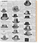 Men's Hats, 1895 Wood Print