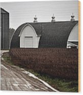Michigan Barn With Grain Bins Rainy Day Usa Wood Print