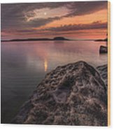 2 Mile Point Sunset And Moonrise Wood Print