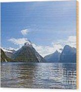 Milford Sound And Mitre Peak In Fjordland Np Nz Wood Print