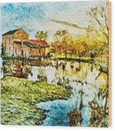 Mill By The River Wood Print