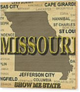 Missouri State Pride Map Silhouette  Wood Print