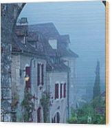 Misty Dawn In Saint Cirq Lapopie Wood Print