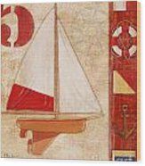Model Yacht Collage II Wood Print by Paul Brent