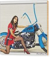 Models And Motorcycles Wood Print