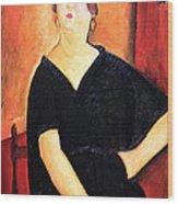 Modigliani's Madame Amedee -- Woman With Cigarette Wood Print