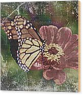 Monarch- Butterfly Mixed Media Photo Composite Wood Print