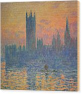 Monet's The Houses Of Parliament At Sunset Wood Print
