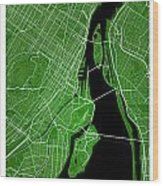 Montreal Street Map - Montreal Canada Road Map Art On Colored Ba Wood Print