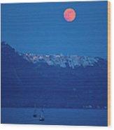 Moon Over Santorini Wood Print