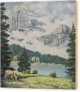 Morning At The Glacier Wood Print