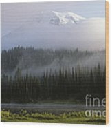 Mount Rainier Shrouded In Fog Wood Print
