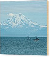Mount Redoubt Across Cook Inlet From Ninilchik-ak   Wood Print