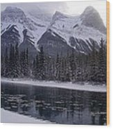 Mountain Sunset Christmas Canmore, Alberta Wood Print