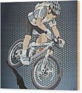 Mountainbike Sports Action Grunge Color Wood Print