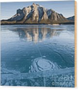 Mt. Michener And Ice On Abraham Lake Wood Print