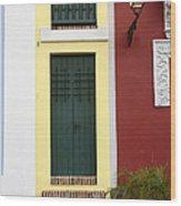 Narrow Yellow Building In Old San Juan Wood Print