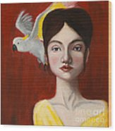 Natalie And Her White Bird Wood Print