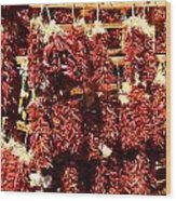New Mexico Red Chili Ristra And Gralic Wood Print