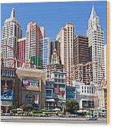 New York New York Casino Wood Print