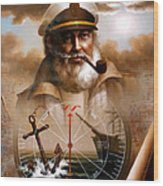 News  Map Captain 5 Or  Sea Captain Wood Print