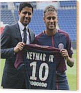 Neymar Signs For PSG Wood Print