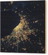 Night Time Satellite Image Of Chicago Wood Print