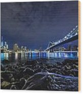 Night View To Manhattan Wood Print