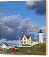 Nubble Lighthouse Wood Print by John Greim