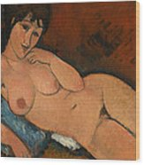 Nude On A Blue Cushion Wood Print