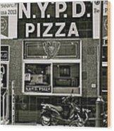 N.y.p.d. Pizza Wood Print