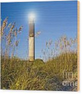 Oak Island Southport North Carolina Lighthouse Through The Cassw Wood Print